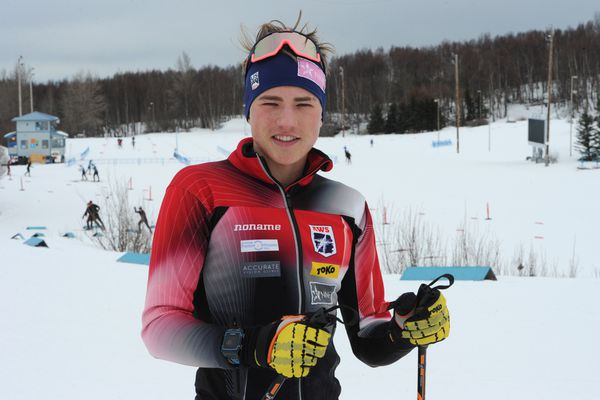 Anchorage skier Gus Schumacher will be competing in the Junior National cross country championships at Kincaid Park this week. Sunday, March 10, 2019. (Bill Roth / ADN)