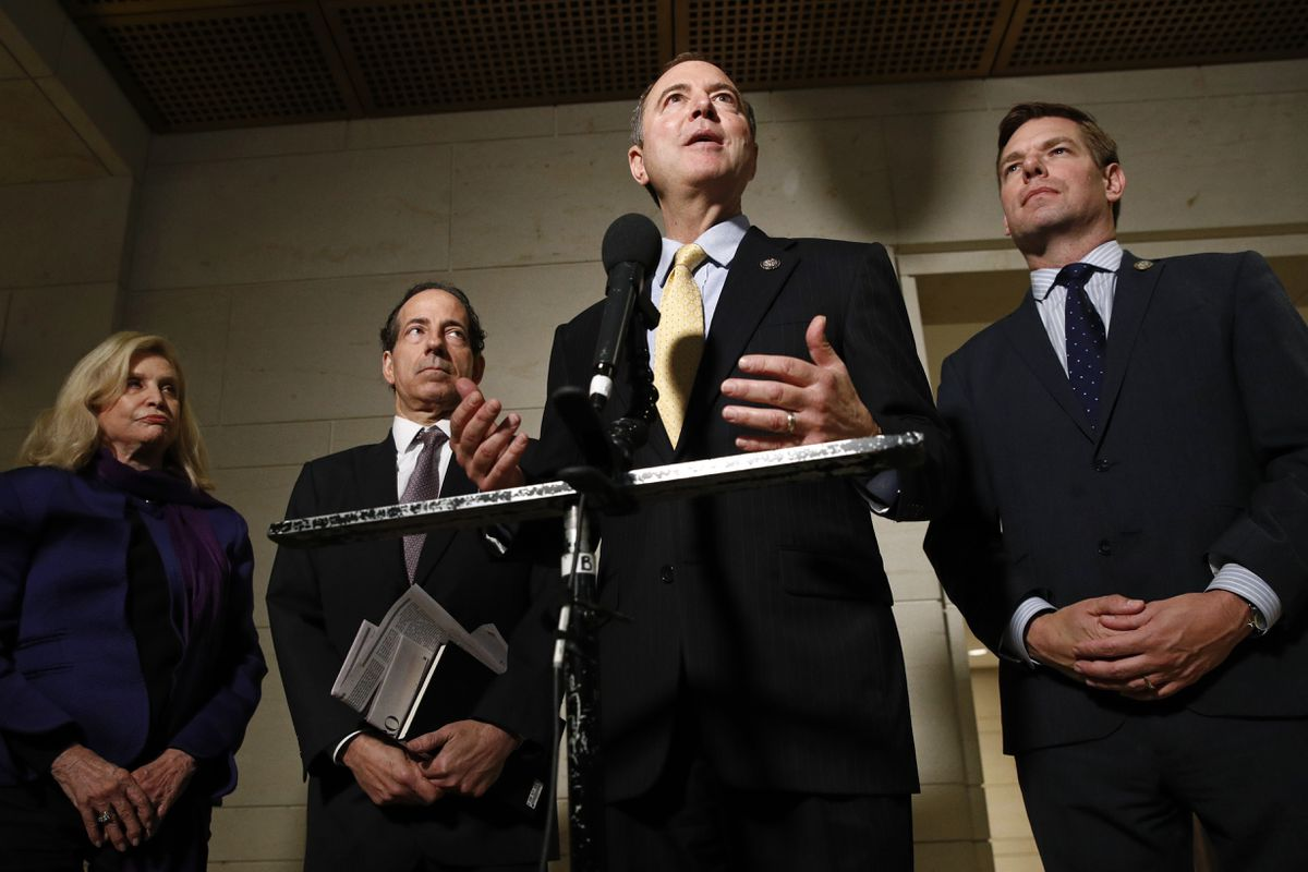 Rep. Adam Schiff, D-Calif., second from right, speaks with members of the media Monday on Capitol Hill. Standing with Schiff are Carolyn Maloney, D-N.Y., left, Rep. Jamie Raskin, D-Md., and Rep. Eric Swalwell, D-Calif. (AP Photo/Patrick Semansky)