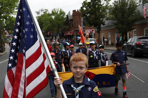 FILE PHOTO - Members of the Boy Scouts of America march during a Memorial Day parade in Manhasset, New York, U.S. May 29, 2017. REUTERS/Shannon Stapleton