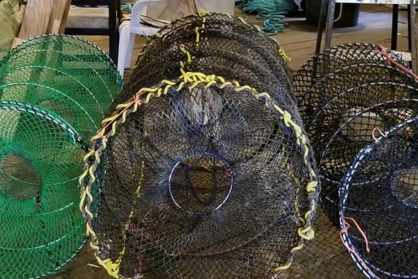 Collapsible black cod pots. (Photo by Alexander Stubbs)