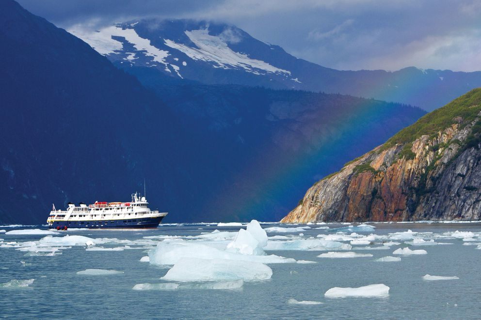 The National Geographic Sea Bird of Lindblad Expeditions sails among icebergs in the remote Endicott Arm in Alaska. (Michael S. Nolan/Lindblad Expeditions)