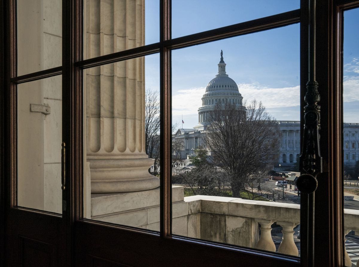 FILE- This Dec. 27, 2018, file photo shows the Capitol Dome from the Russell Senate Office Building in Washington during a partial government shutdown. (AP Photo/J. Scott Applewhite, File)