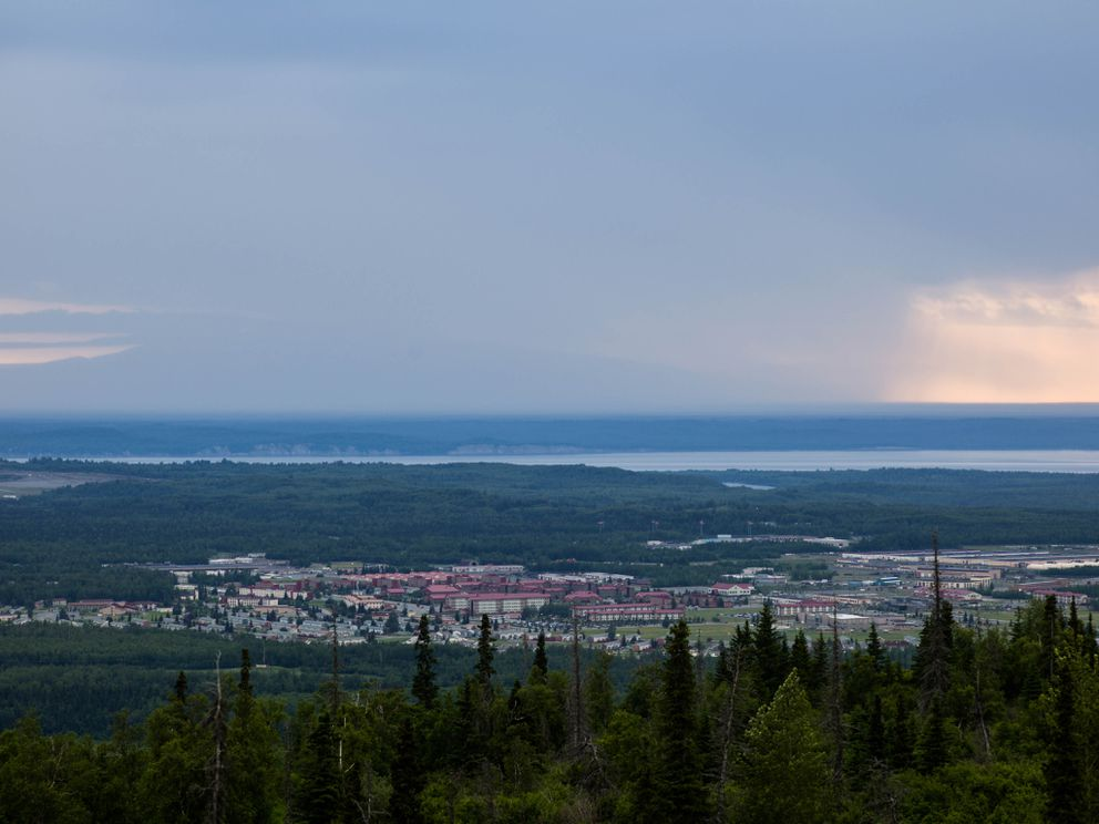 Joint Base Elmendorf-Richardson, as seen from Arctic Valley. Anchorage has a visible military presence, and retired fire captain Ben Clayton said that the numerous bases in Alaska have the primary mission of fending off threats. (Ash Adams for The Washington Post)