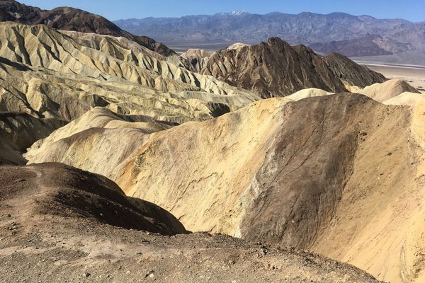 Hiking Golden Canyon in Death Valley, view from Red Cathedral. (Photo by Alli Harvey)