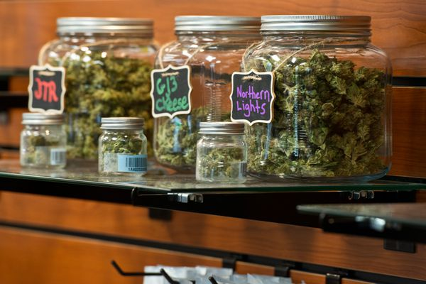 Marijuana is stocked on the shelves of Herbal Outfitters in Valdez on October 29, 2016. (Marc Lester / Alaska Dispatch News)