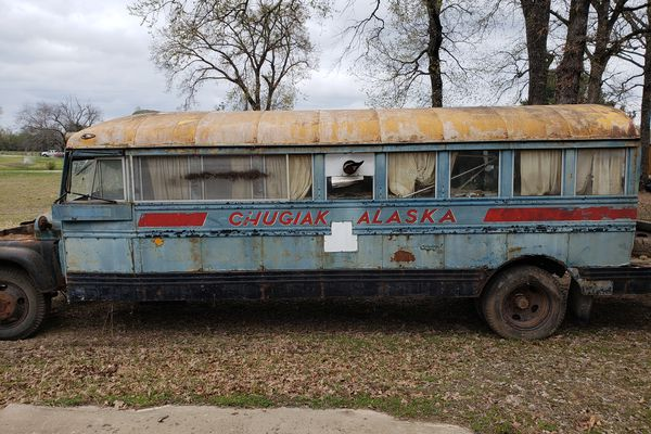 This 1961 Chevy bus was found in a field in East Texas in 2019 with the words