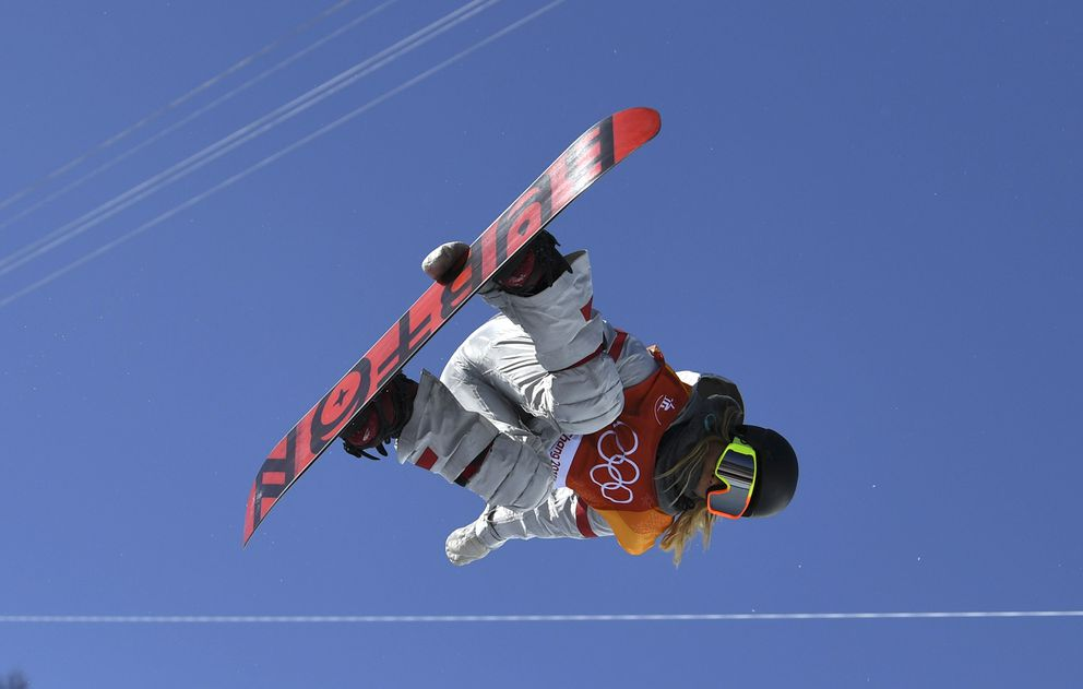 Chloe Kim of the U.S. competes in the women's halfpipe final. REUTERS/Dylan Martinez