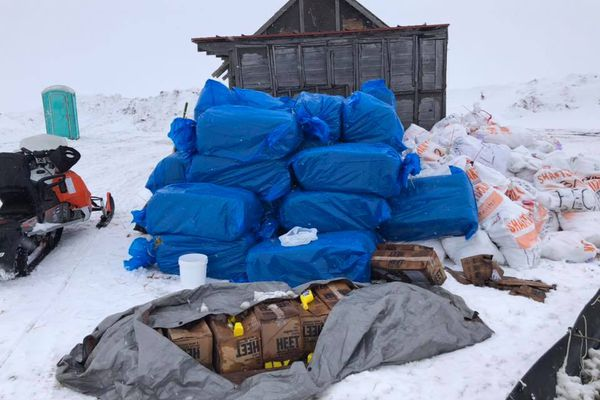 Residents of Shaktoolik worked together to make a checkpoint outside of town so that mushers could have shelter during the Iditarod Trail Sled Dog Race, March 14, 2020. (Photo by Gary Bekoalok)