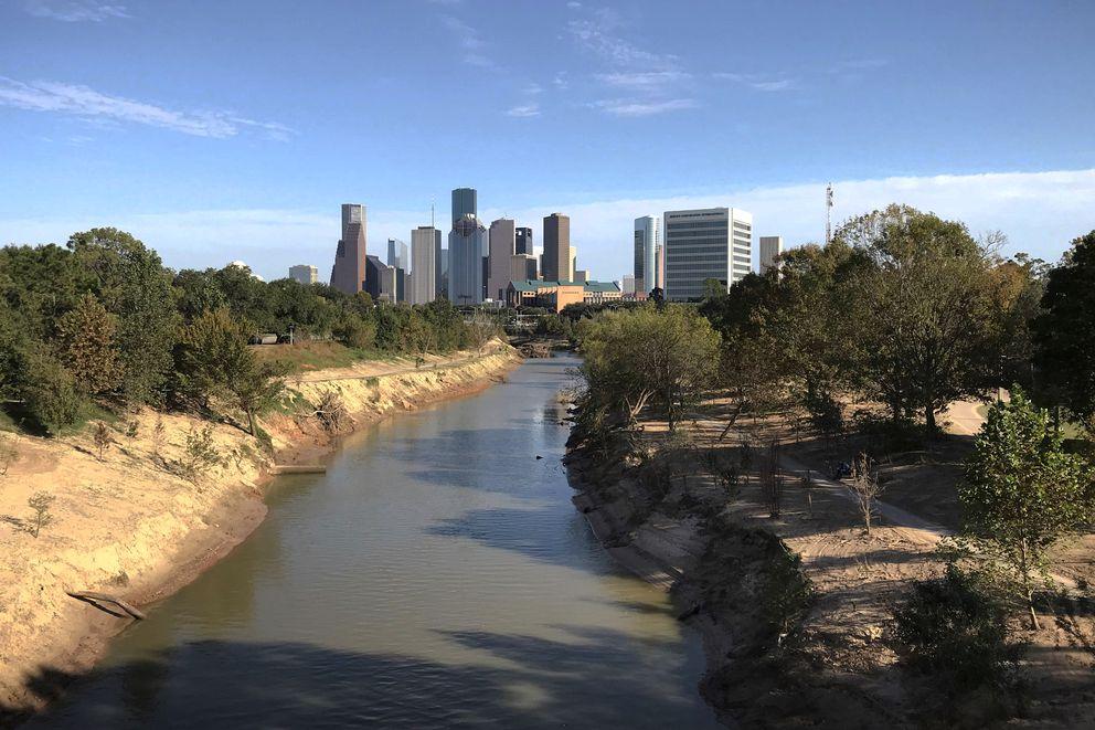 The skyline of downtown Houston, Texas, seen from a bridge over Buffalo Bayou on Monday, Nov. 20, 2017. (Vicky Ho / ADN)