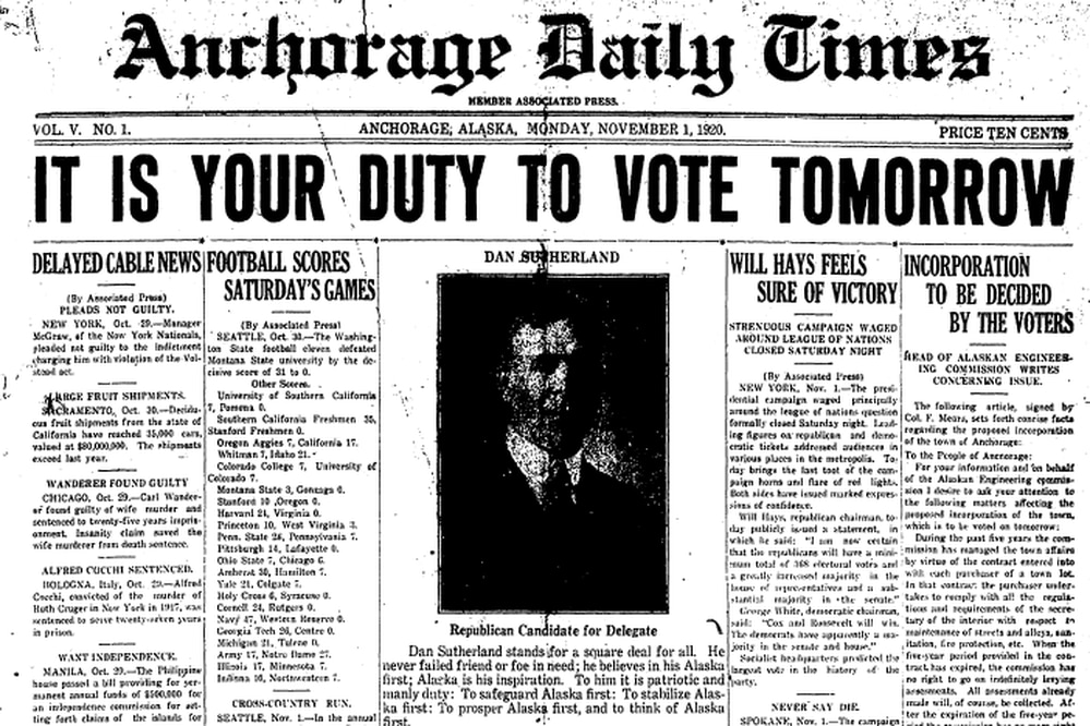 Cover of the Nov. 1, 1920 edition of the Anchorage Daily Times