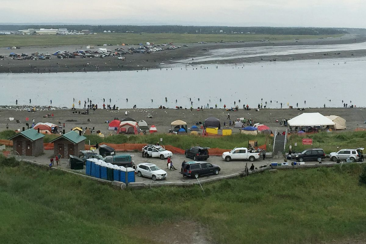 The mouth of the Kenai River remains crowded with dipnetters on Tuesday, July 21, 2015, in Kenai. (Dermot Cole / Alaska Dispatch News)