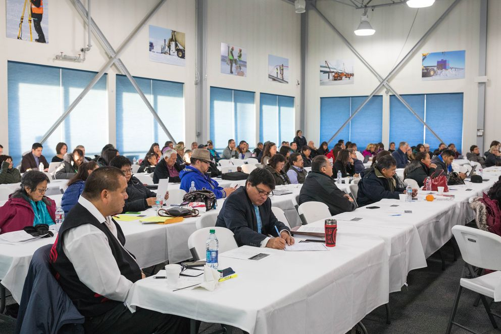Attendees at a National Congress of American Indians/Alaska Federation of Natives conference on Wednesday at a Doyon facility in Fairbanks. (Loren Holmes / Alaska Dispatch News)