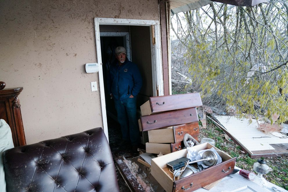 Troy Hardy at his severely damaged his home on March 3, 2019, in Smiths Station, Alabama. (Photo for The Washington Post by Kevin D. Liles)