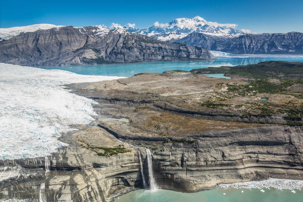 Guyot glacier, Icy Bay, and Mount St. Elias, in Wrangell-St. Elias National Park. July 2015. (Photo courtesy National Park Service)