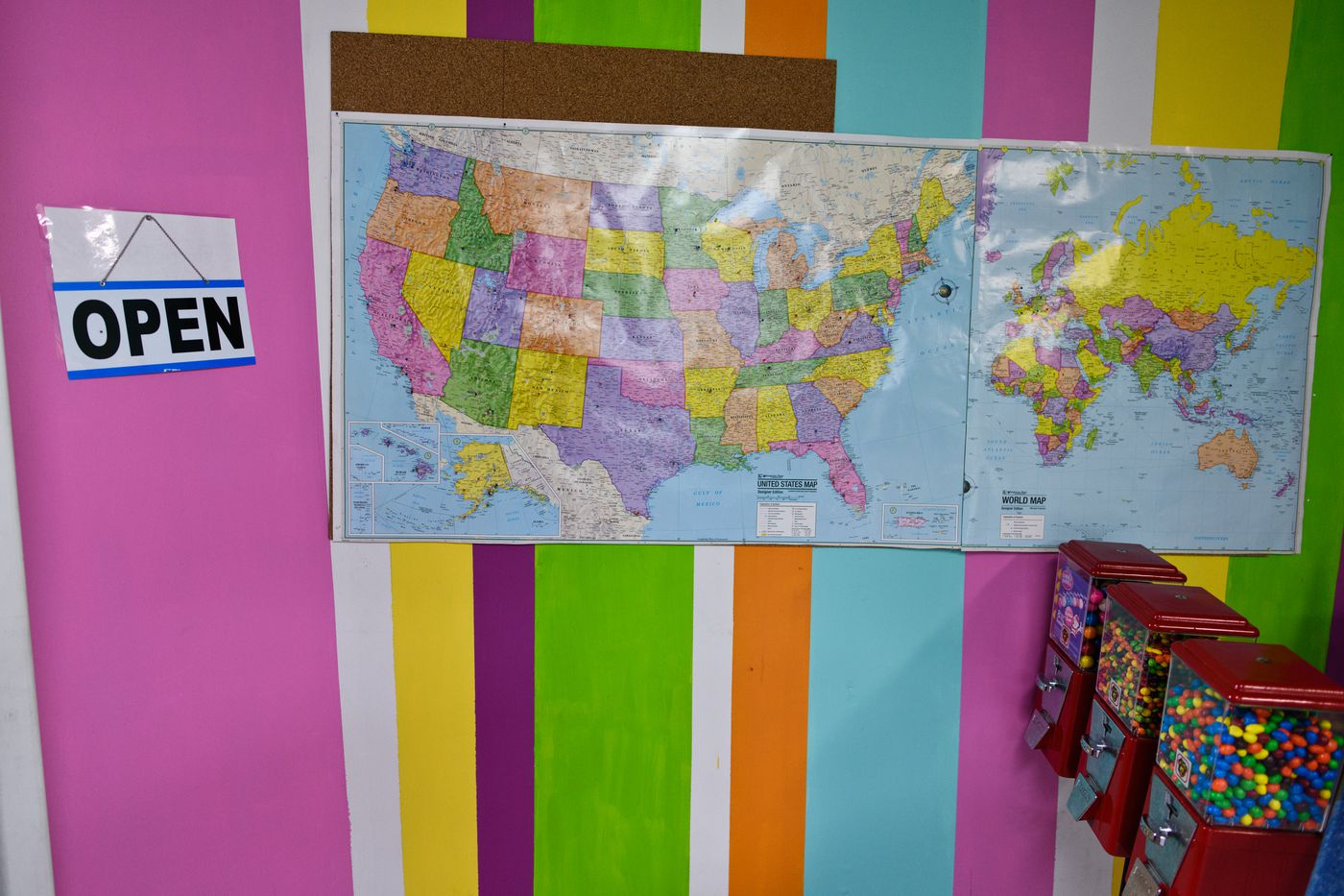 At Northern Lights Delights, pins in a map show where visitors have come from on June 21, 2018. (Marc Lester / ADN)
