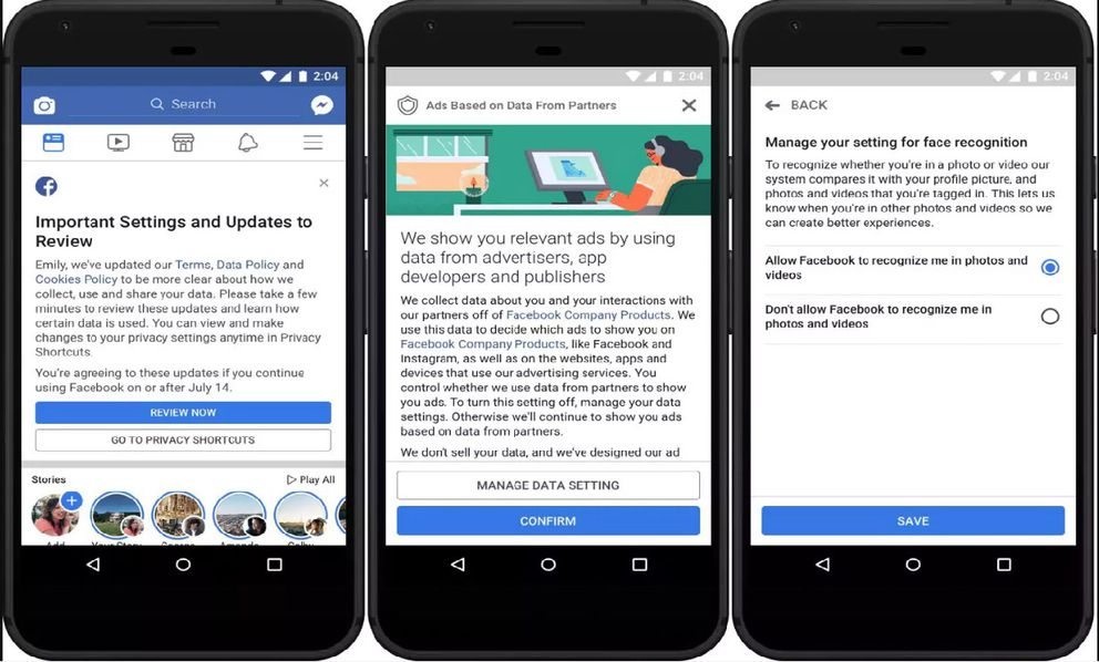 In the weeks ahead, Facebook will pop up in your News Feed with a call to review some settings. It won't change your defaults - but it's a good reminder you should change them by tapping manage data settings. Facebook screenshot