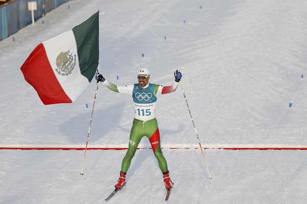 Cross-Country Skiing – Pyeongchang 2018 Winter Olympics – Men's 15km Free – Alpensia Cross-Country Skiing Centre – Pyeongchang, South Korea – February 16, 2018 - German Madrazo of Mexico crosses the finish line. REUTERS/Murad Sezer