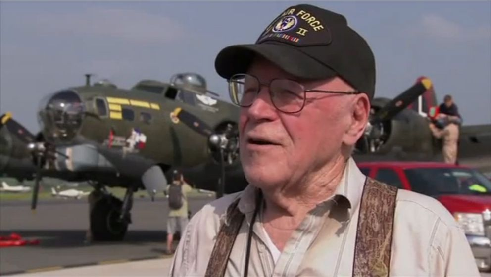 Urban Rahoi, a World War II veteran, speaks about his career in aviation during a May 8, 2015 flyover in Washington, D.C. Rahoi was 96 at the time. (AP file photo)