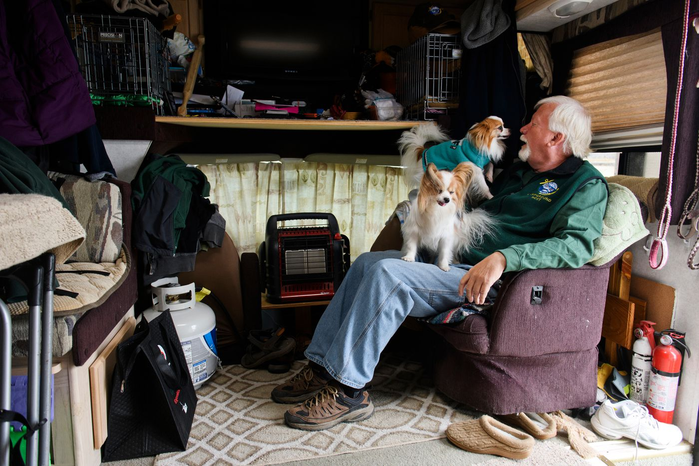 Tim Foster has been camping in Seward since he was a child. Now he's a campground host who stays in an RV with his dogs for several months each year. (Marc Lester / ADN)