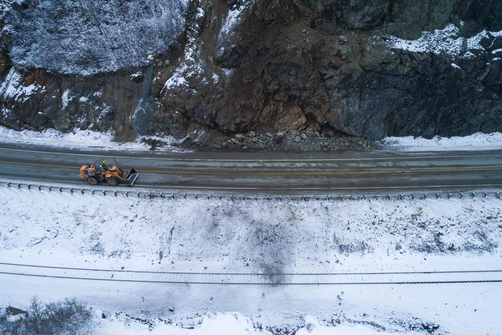 A rockslide temporarily closed the Seward Highway near McHugh Creek Friday morning, Nov. 30, 2018 after a strong earthquake shook southcentral Alaska. (Loren Holmes / ADN)
