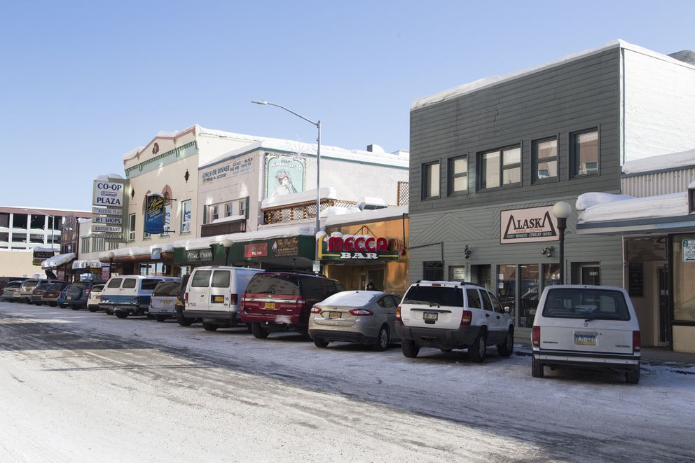 Mecca Bar, Co-Op Plaza and The Crepery are some of the businesses found on Second Avenue in downtown Fairbanks. (Rugile Kaladyte / Alaska Dispatch News)