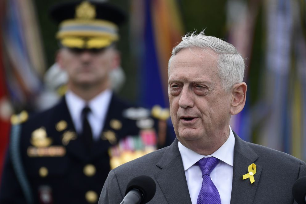 In this Sept. 21, 2018, file photo, then-Defense Secretary Jim Mattis speaks during the 2018 POW/MIA National Recognition Day Ceremony at the Pentagon in Washington. (AP Photo/Susan Walsh, File)