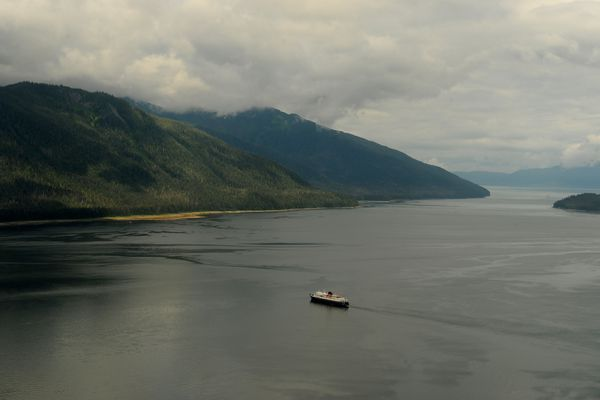 The M/V Matanuska heads into Wrangell in Southeast Alaska on Friday, July 3, 2015. (Bob Hallinen / ADN archive)