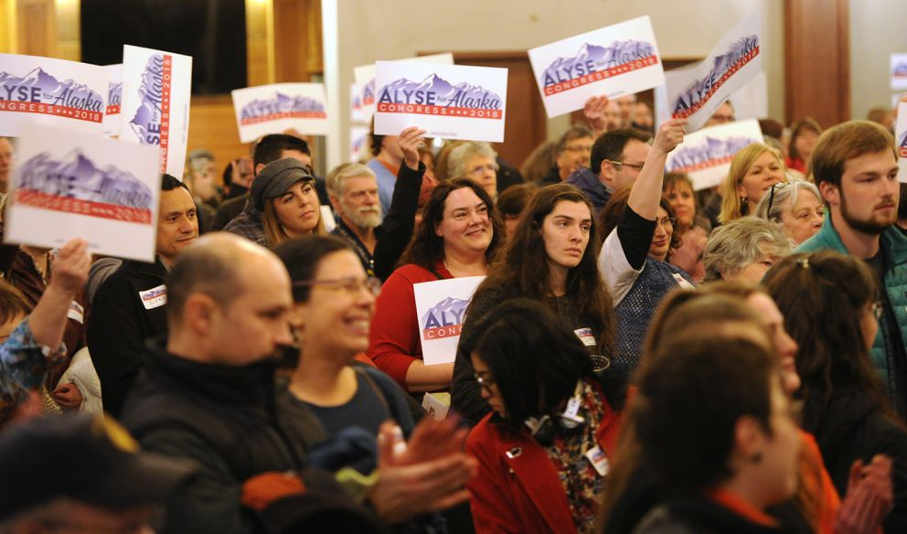 Supporters gathered at the 49th State Brewing Co. in Anchorage on Thursday, Jan. 11, 2018, as education advocate Alyse Galvin announced her candidacy for Congress. (Bill Roth / ADN)