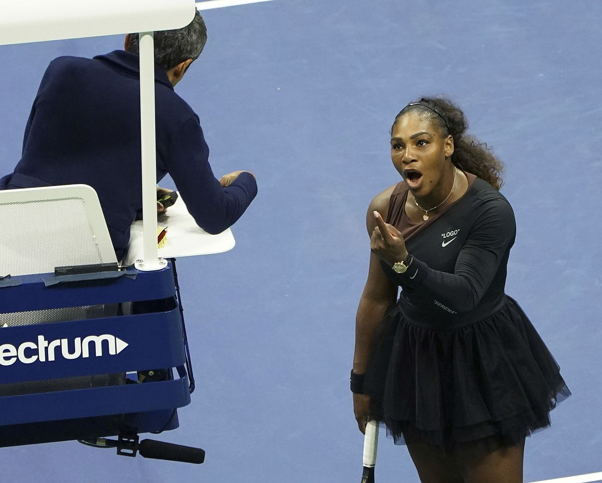 Serena Williams argues with the chair umpire during a match against Naomi Osaka, of Japan, during the women's finals of the U.S. Open tennis tournament. (Photo by Greg Allen/Invision/AP, File)