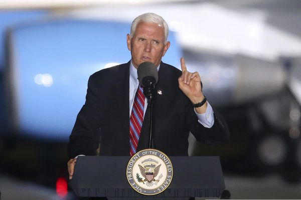 Vice President Mike Pence speaks to supporters Saturday Oct. 24, 2020 in Tallahassee, Fla. (AP Photo/Steve Cannon)