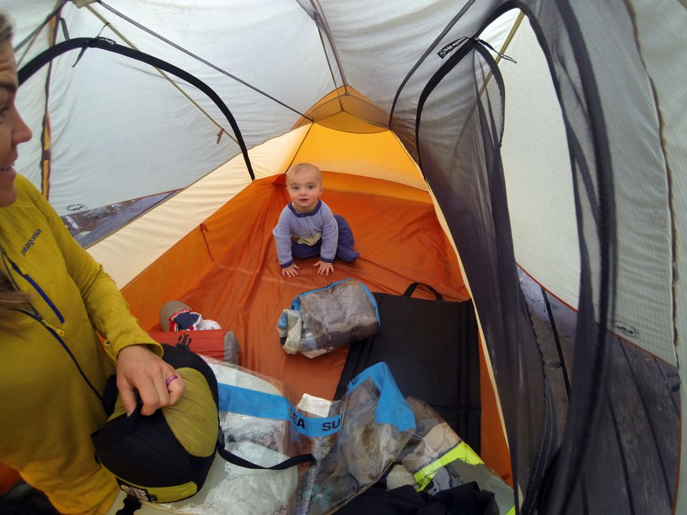 Finch Helzer plays in the tent while his mom sets up for another night along the Chilkoot Trail.(Courtesy Heather Helzer)