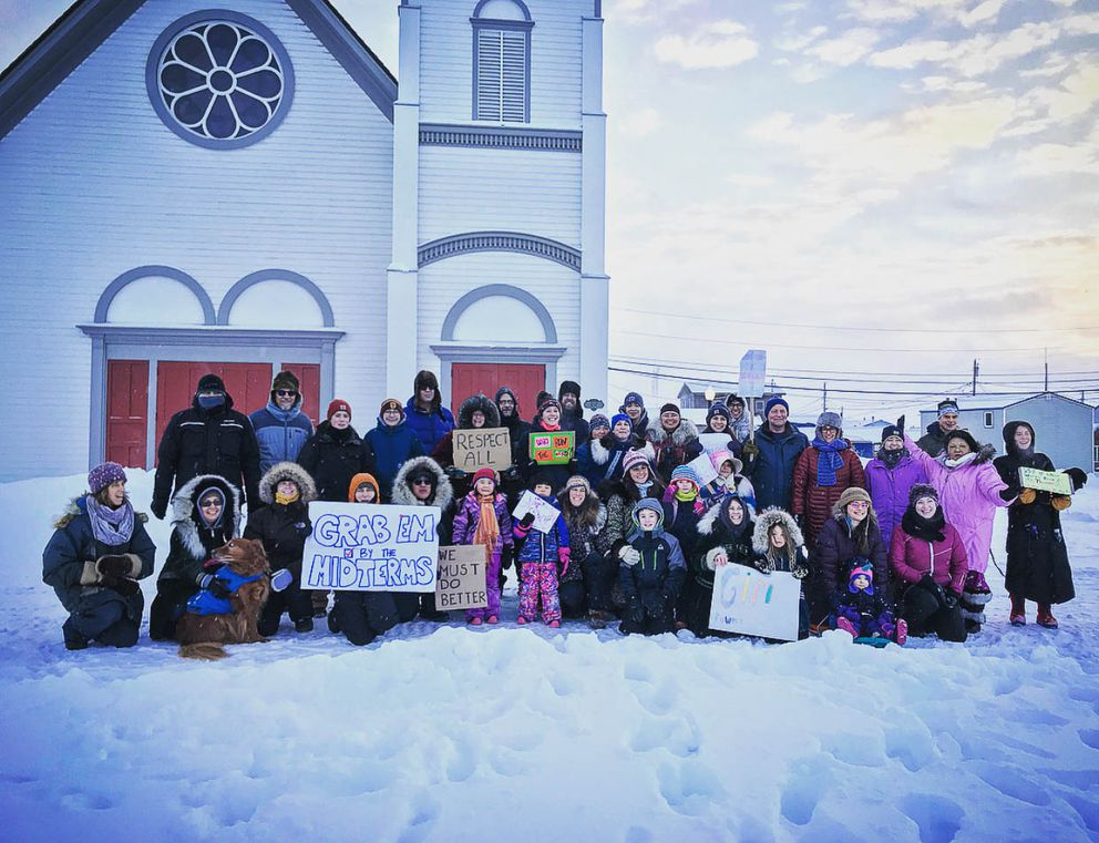 The Women's March in Nome, Jan. 20, 2018. (Jenny Mills)