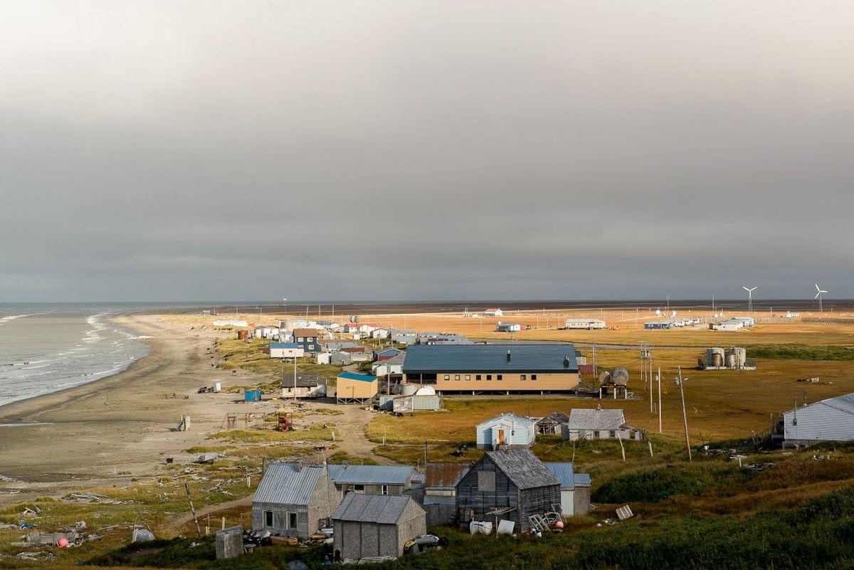 The Alaska village of Wales on the Bering Strait. (Photo by Mitch Borden, KNOM)