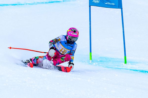 Katie Rowekamp, an Alyeska Ski Club U12, declined to defer to her U14 elders in winning outright the first of two Alyeska Cup giant slaloms on the Race Trail Monday. (Photo by Bob Eastaugh)