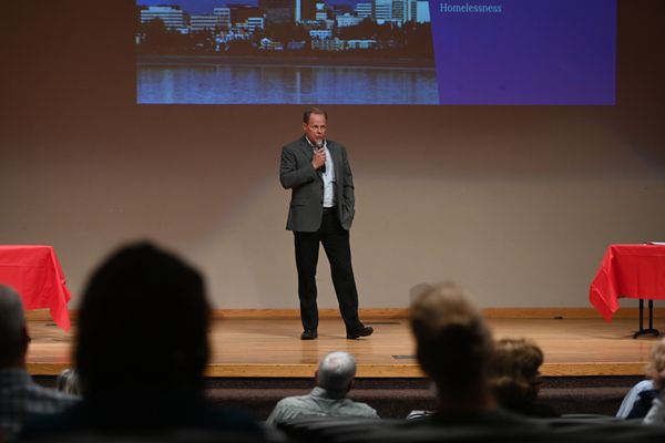 Mayor-elect Dave Bronson discussed a preliminary plan to address the next steps for the homeless population in Anchorage at the Wilda Marston Theater on Thursday, June 17, 2021. (Bill Roth / ADN)