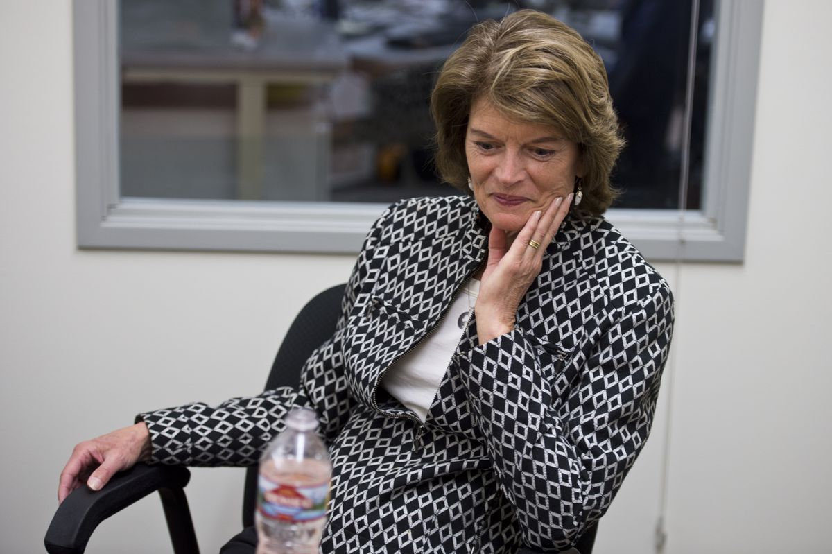 Sen. Lisa Murkowski speaks with Anchorage Daily News staff members on May 31, 2018. (Marc Lester / ADN)