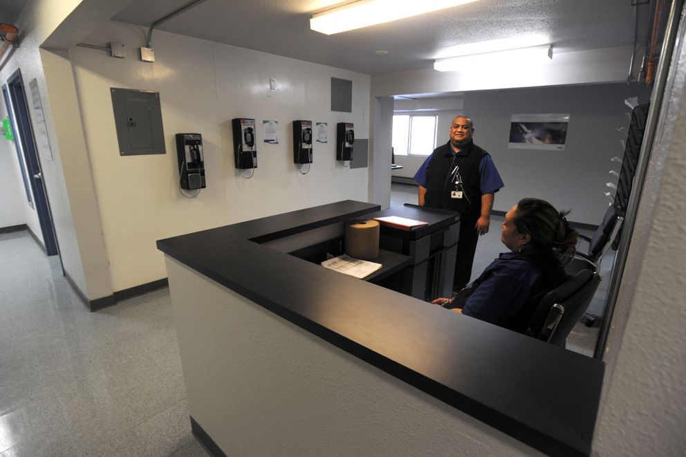 Each floor now features a security station to assist inmates at Cordova Center transitional facility on Thursday. (Erik Hill / Alaska Dispatch News)