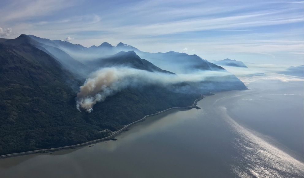 Aerial view of the smoke plume heading east up the Turnagain Arm on Sunday, July 17, 2016. (Photo by Korey Dausz)
