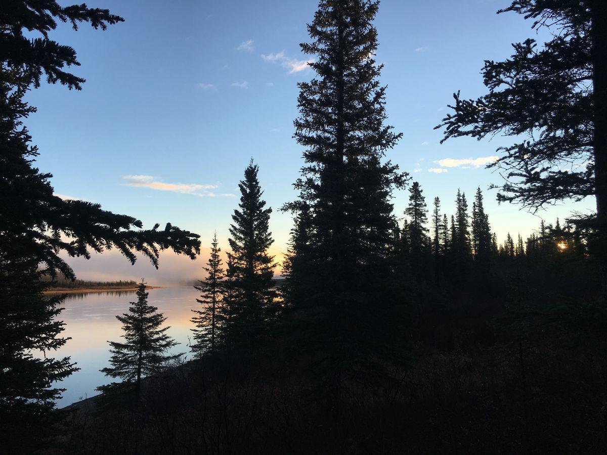 The sun rises on the Kobuk River. (Laureli Ivanoff)