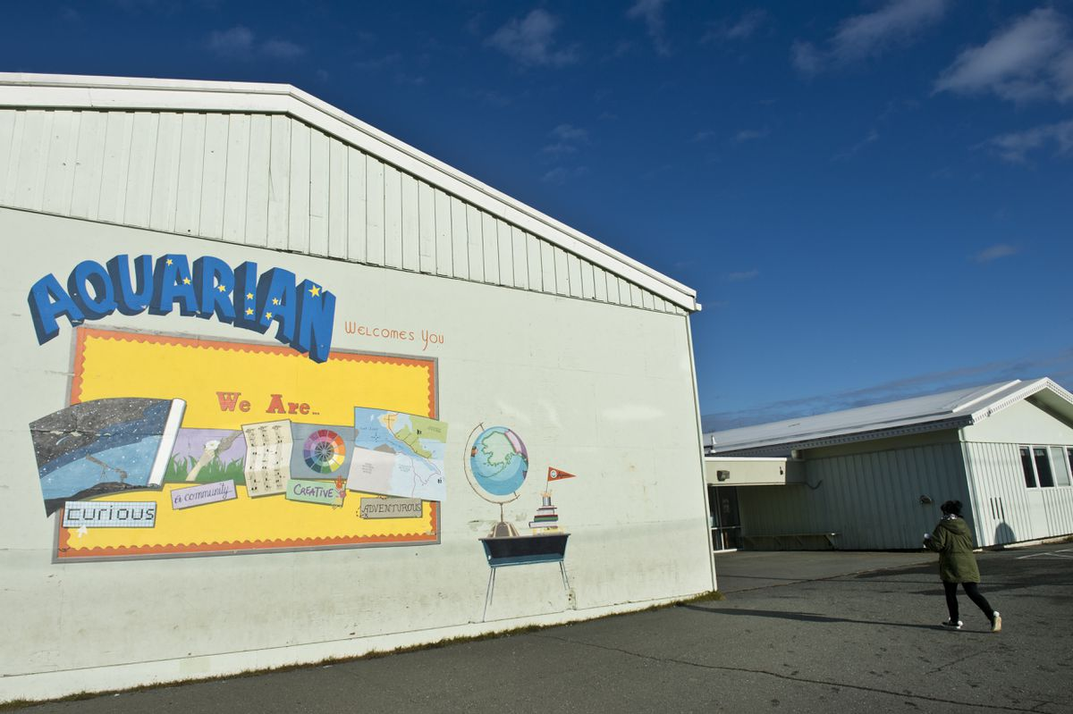 on October 25, 2019. Aquarian Charter School leadership groups are asking the Anchorage School District to include repairs to its Spenard building in a future bond. Aquarian's building is owned by the school district. (Marc Lester / ADN)