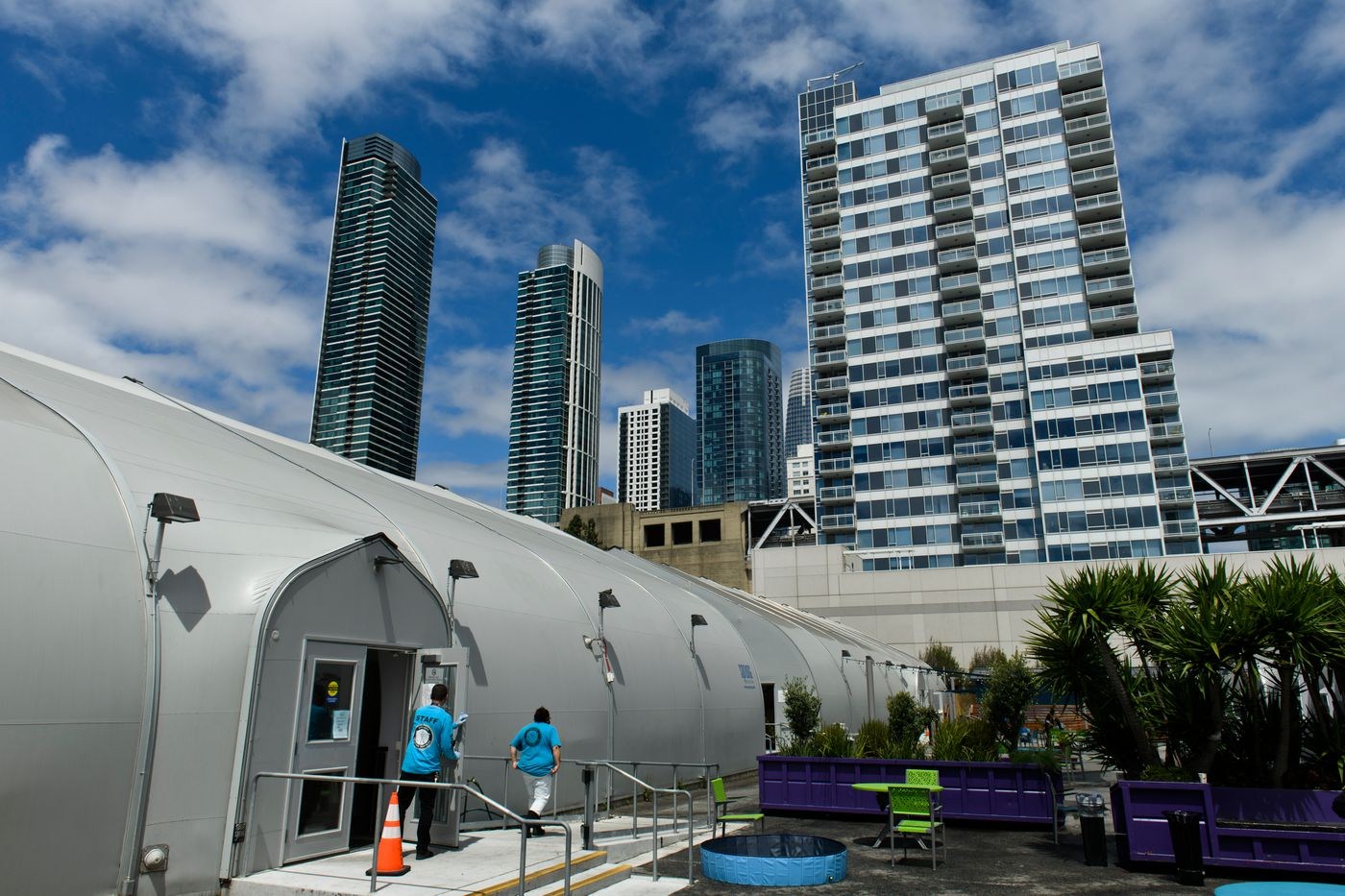The Embarcadero SAFE Navigation Center, housed in fabric and aluminum enclosures made by Sprung Structures, opened in December 2019 despite objections from neighbors in the affluent section of the city. (Marc Lester / ADN)