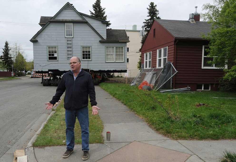 Joe Dugan saved the historic Shonbeck house that was destined to be demolished and had it moved from its original location across from the Delaney Park Strip to a lot he owns about a block away on 11th Avenue in South Addition. (Bill Roth / ADN)