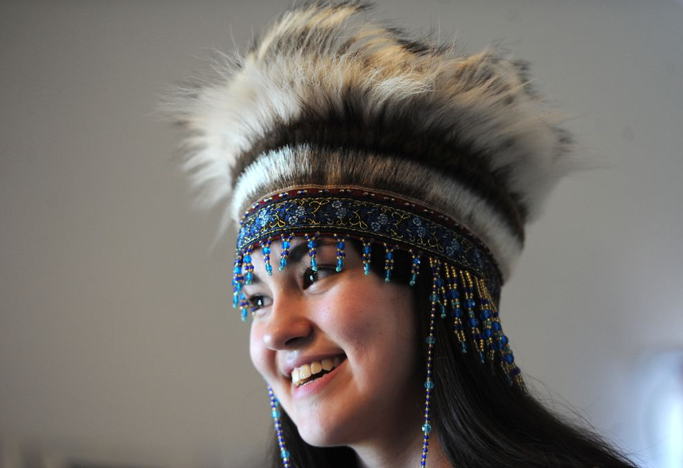 Nyché Andrew, 16, intends to wear a traditional Yup'ik headdress during the Service High School commencement in 2021. That's not allowed under the current regulations, but Andrew and her mom, Jacqueline Morris, are hoping to change that. (Bill Roth / ADN)