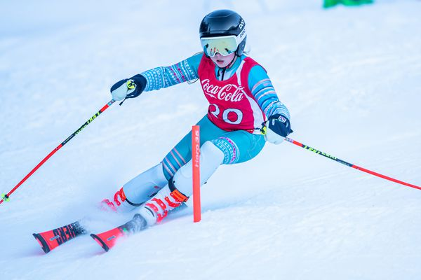 Alyeska Ski Club U12 Ali Boshell not only won her class in both two-run Coca-Cola Classic slaloms Saturday at Alyeska, but her total time in the first race was also faster than that of any of the U14 girls. She also had the second fastest total time in the second race, only two-tenths of a second behind her U14 sister, Lili Boshell.