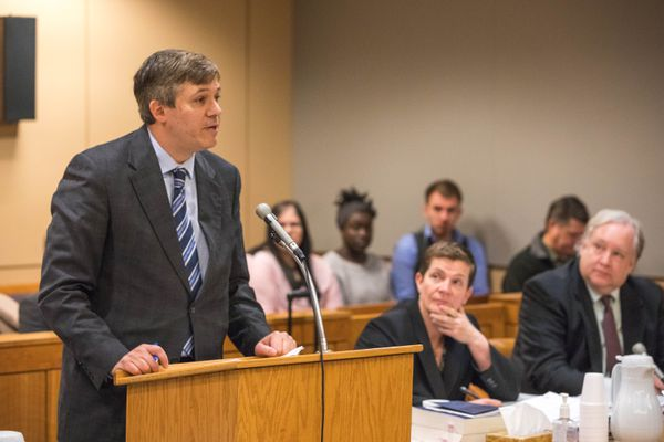 Plaintiff and state Sen. Bill Wielechowski speaks to the court during oral arguments in a lawsuit challenging Gov. Bill Walker's veto of half the Alaska Legislature's deposit into the Alaska Permanent Fund's dividend account, at the Nesbett Courthouse on Thursday, Nov. 17, 2016. (Loren Holmes / Alaska Dispatch News)