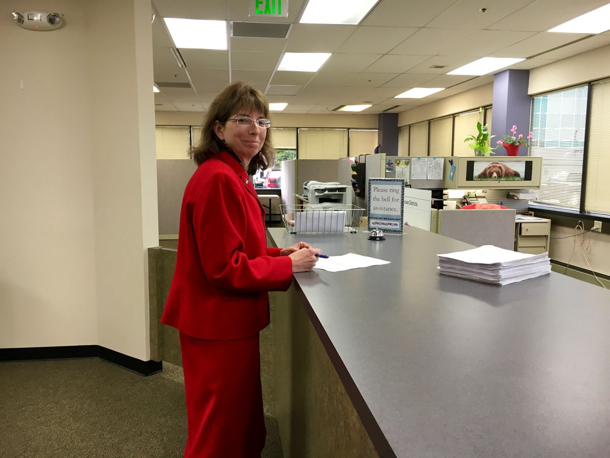 Alaska Senate candidate Margaret Stock filed about 5,700 signatures endorsing her for the November ballot at the Division of Elections office in Anchorage, August 12, 2016. (Erica Martinson/ Alaska Dispatch News)