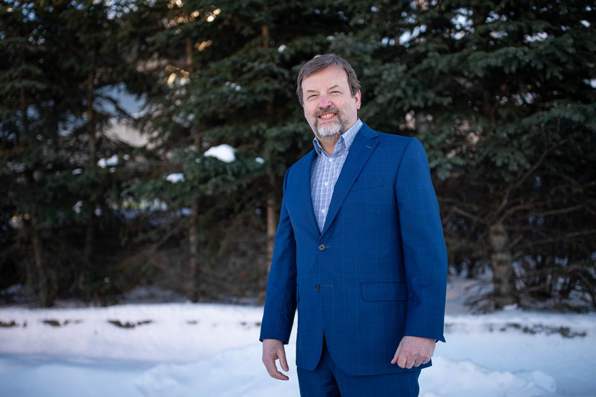 Anchorage mayoral candidate Bill Evans, photographed on Friday, Feb. 19, 2021 in downtown Anchorage. (Loren Holmes / ADN)