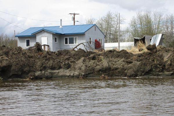 Erosion in Akiak swallowed 75 to 100 feet of Kuskokwim River banks along the village on May 20, 2019. (Ivan Ivan / City of Akiak via KYUK News)