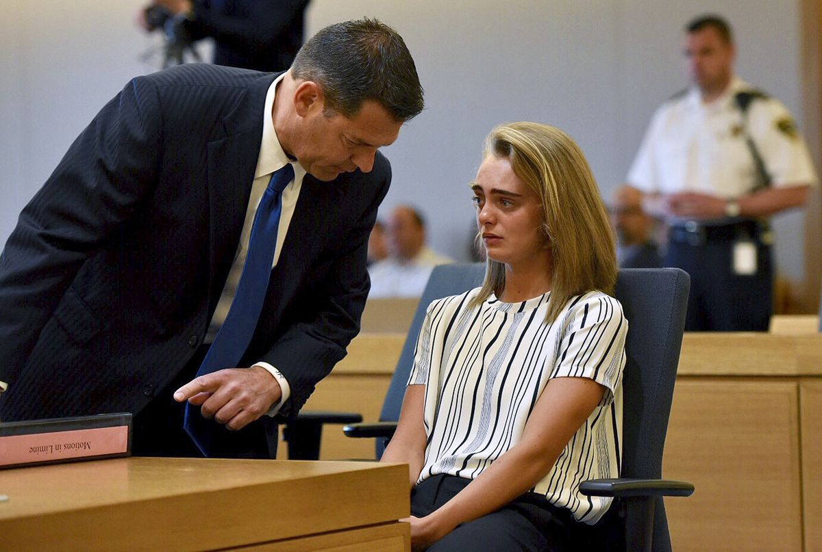 Michelle Carter, 20, who is accused of involuntary manslaughter in the suicide of her boyfriend, Conrad Roy, who was found dead in his truck in 2014, with her attorney Joseph Cataldo in court in Taunton, Mass., June 5, 2017. (Faith Ninivaggi/Pool via The New York Times)