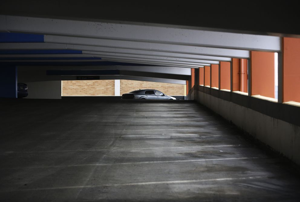 Empty parking spots line the wall of the JC Penney parking garage in downtown Anchorage on Wednesday, April 14, 2021. (Emily Mesner / ADN)
